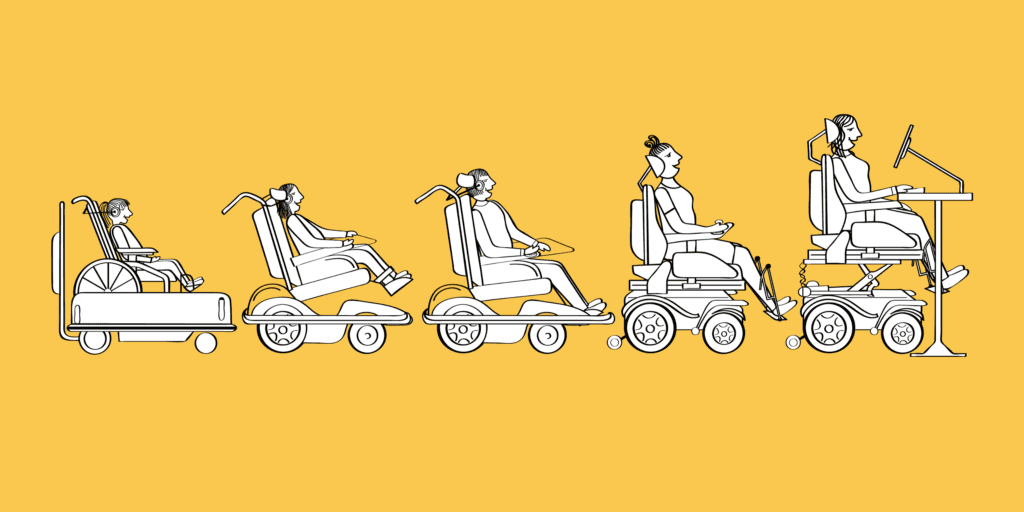 An illustration of five girls in a row who are all wheelchair users, growing up from childhood to adulthood. The final woman is sat in her powerchair at a desk, at work using a computer.