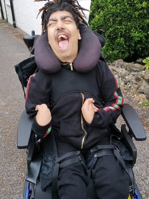 We can now go outside in my powerchair!